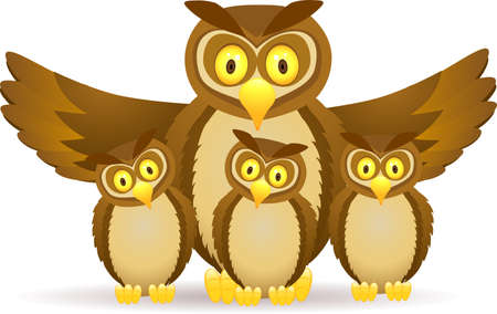 Owl with baby Stock Vector - 12152508
