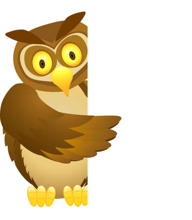 Owl and blank sign Vector