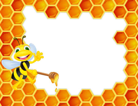 Bee with honey comb Vector