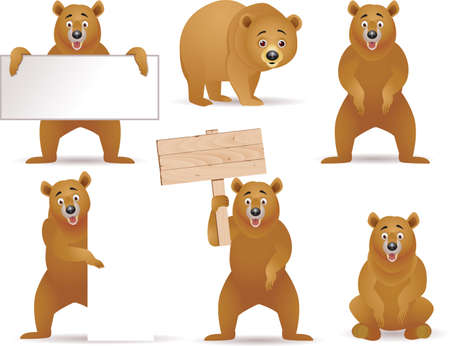 brown bear: Funny bear and blank sign Illustration