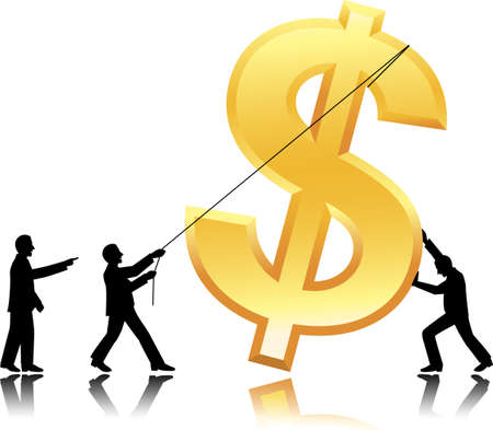 Team work with dollar currency Vector