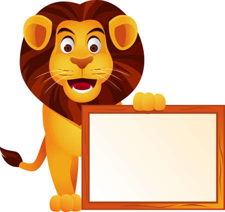 Lion and blank sign isolatet Vector