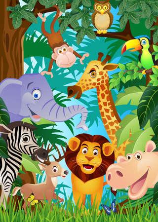 cartoon for�t: Dessin anim� des animaux