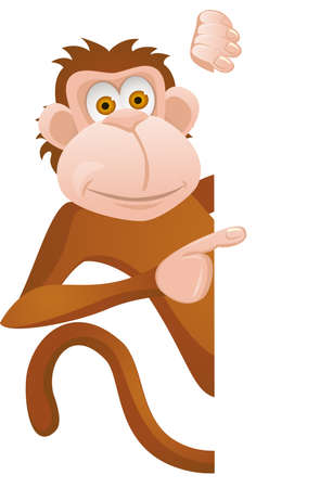 Funny monkey with blank sign Vector