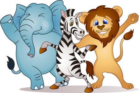 tanzen cartoon: Tierkarikatur Tanzen Illustration
