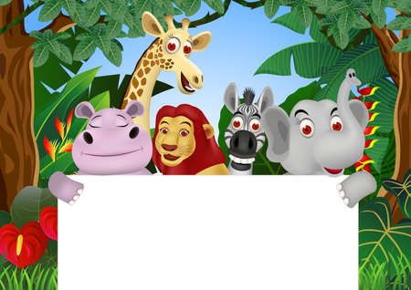 animals together: Animal Cartoon With Blang Sign