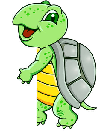 Turtle with blank sign Vector