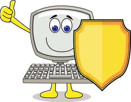 computer cartoon: Computer with shield