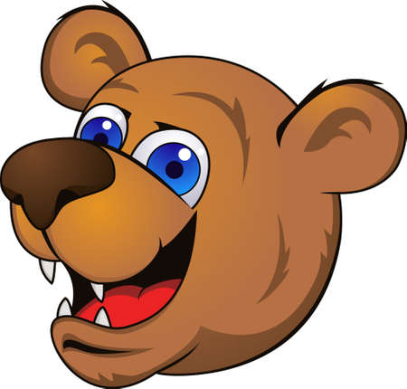 cruel zoo: Bear head cartoon Illustration