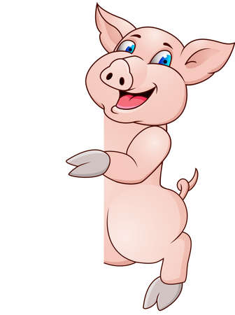 Pig cartoon and blank sign Illustration