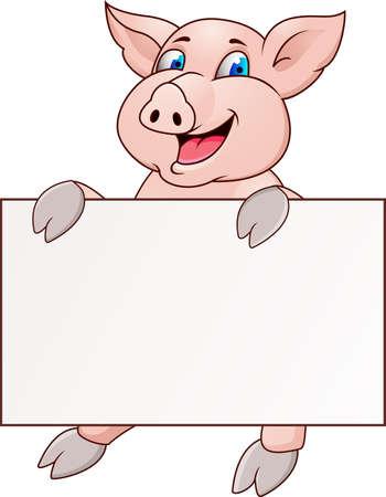 cerdo caricatura: Dibujos animados de cerdo divertido