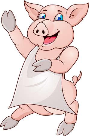 emoticons: Pig wearing apron Illustration