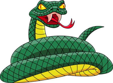 serpiente de cascabel: Serpiente de dibujos animados Vectores