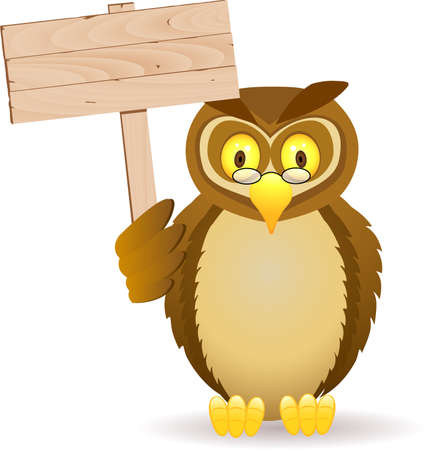 Owl cartoon and blank sign Vector