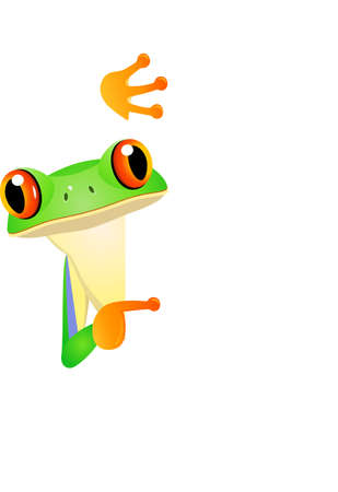 tree frog: Frog with blank sign Illustration