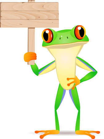 Frog with blank signboard Vector