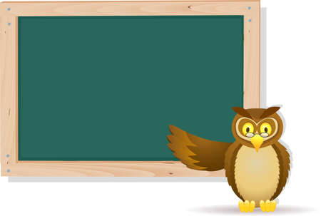 Owl cartoon and board Vector