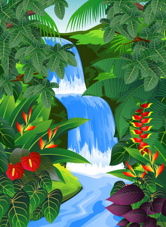 waterfall river: Beautiful tropical forest  Illustration