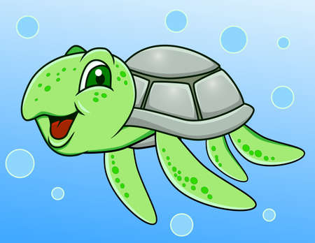 sea green: Turtle cartoon Stock Photo