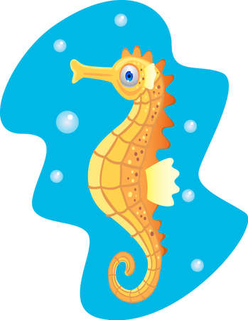 Funny cartoon seahorse photo