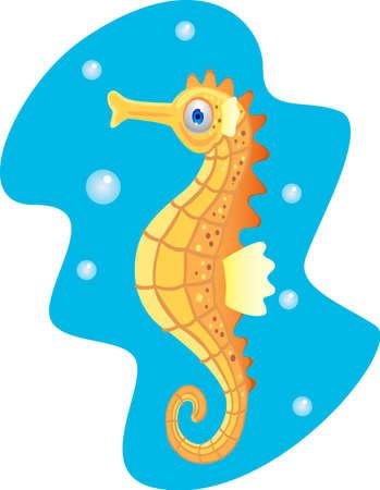 sea horse: Funny cartoon seahorse