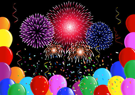 Party balloons, confetti ribbons and fireworks