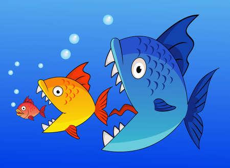 escamas de peces: Cartoon Big comer pescado hasta el m�s peque�o