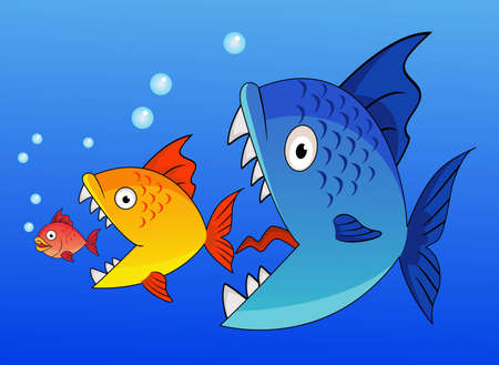 fish water: Cartoon Big fish eating up the smaller