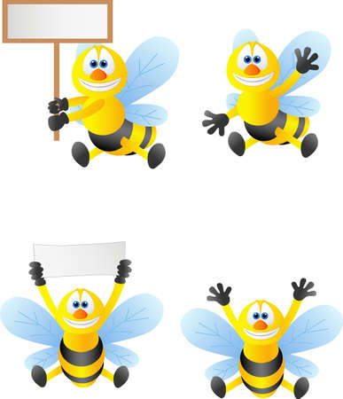 an insect sting: Cute bee Stock Photo