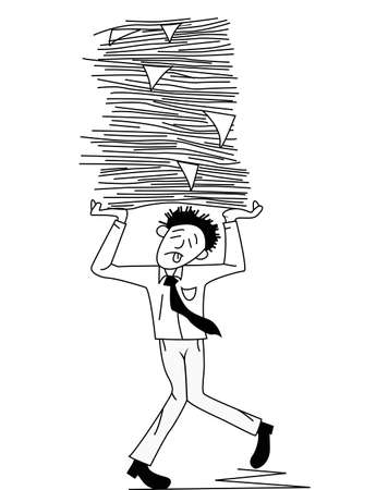Tired man carrying papers  Stock Photo - 12152631