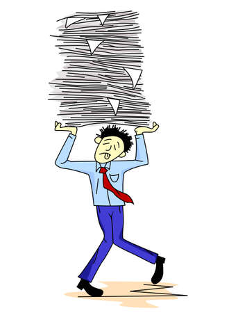 Tired man carrying paper work Stock Photo - 12152609