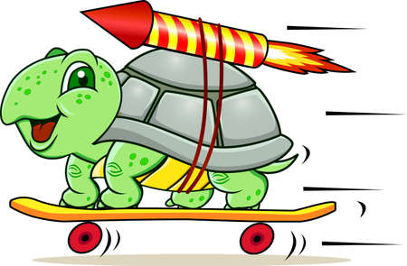 running fast: Funny little turtle using four wheels and rocket to gain speed