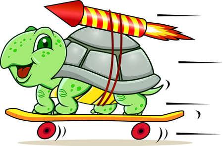 tortuga: Tortuga divertida peque�a con cuatro ruedas y cohetes para ganar velocidad