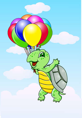 Turtle with balloon  photo