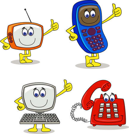 telefono caricatura: Cartoon electrónico Foto de archivo