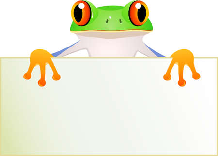 green frog: Frog with blank sign Stock Photo
