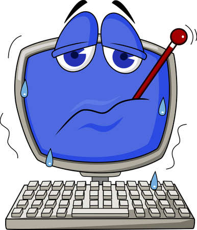 computer problems: Cartoon illustration of a sick computer with thermometer