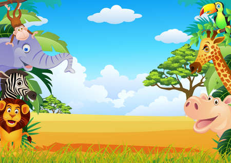 monkey on a tree: Animal cartoon