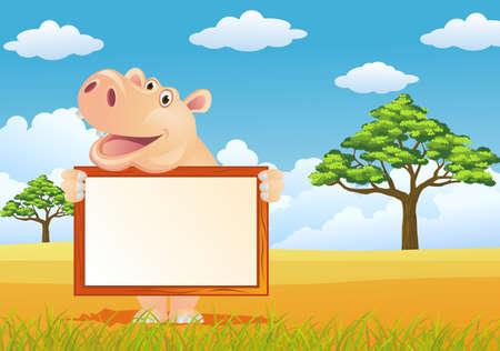 hippopotamus: Hipona y firmar en blanco Vectores