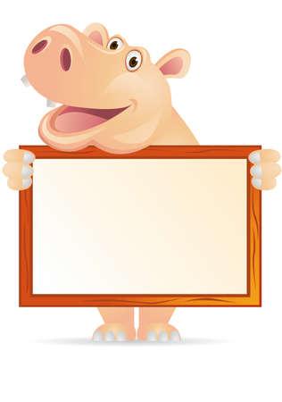 hipopotamo caricatura: Hipona y firmar en blanco Vectores