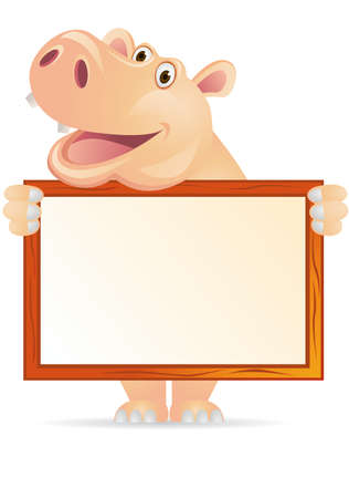 hippopotamus: Hippo and blank sign Illustration