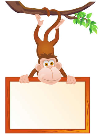 Monkey and blank sign Vector