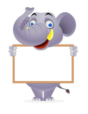 Elephant and blank sign Vector