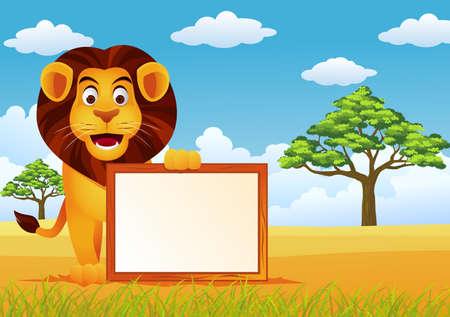 Funny Lion cartoon Ilustrace