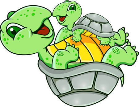 green turtle: Divertente tartaruga Vettoriali