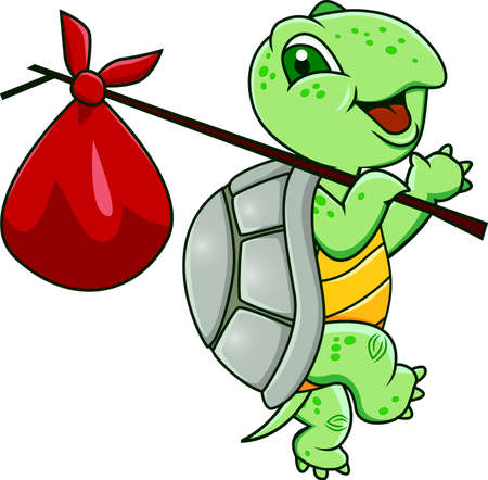 turtle isolated: Funny turtle