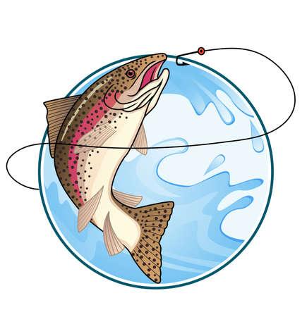 민물의: 송어 낚시 일러스트