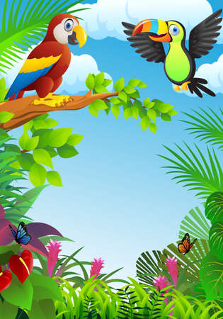 Birds in the tropical forest Vector