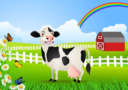 Cow in pasture Vector