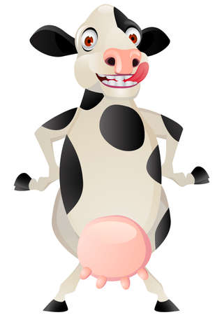 dairy cattle: Funny cow cartoon  Illustration